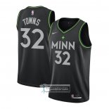 Camiseta Minnesota Timberwolves Karl-Anthony Towns Ciudad 2020-21 Negro
