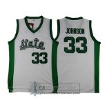 Camiseta NCAA Retro Michigan State Spartans Johnson Blanco