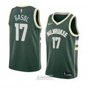 SE Camiseta PAU Gasol Milwaukee Bucks Verde,Camiseta Swingman,Camiseta Deportiva,Camiseta Icon edici/ón