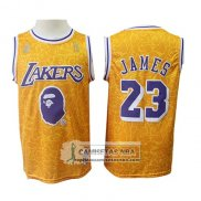 Camiseta Los Angeles Lakers Lebron James Mitchell & Ness Amarill