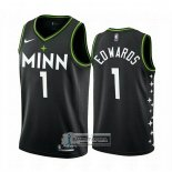 Camiseta Minnesota Timberwolves Anthony Edwards Ciudad 2020-21 Negro