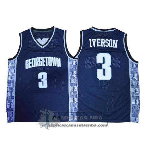 Camisetas NBA NCAA Georgetown Hoyas Allen Iverson Azul replicas ... a84a0367d97